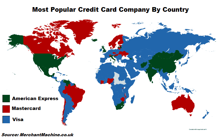 Most Popular Credit Card Company By Country - Visa, Mastercard Or American Express