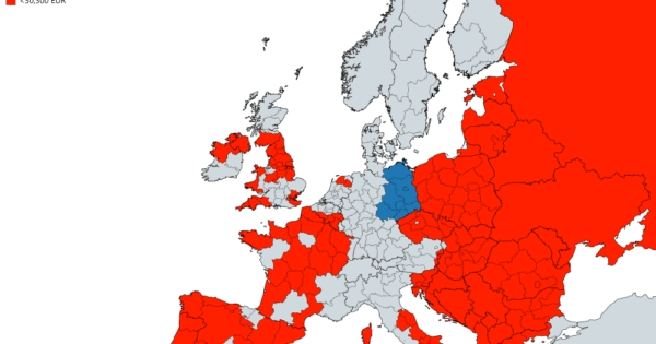 European Regions With A Lower GDP Per Capita Than East Germany