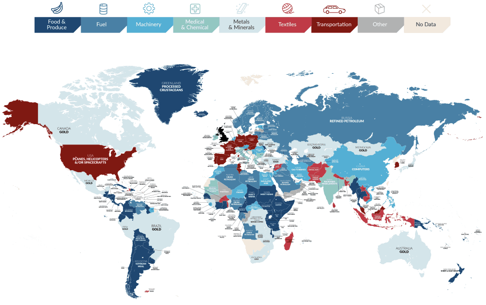 UK Import Map: The Top Export Item From Every Country To The UK