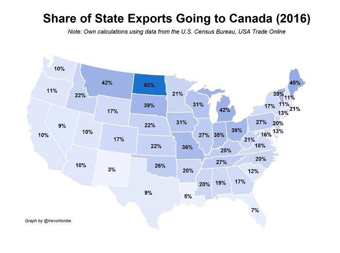 Map Showing The Importance of Canada-USA Trade By State/Province